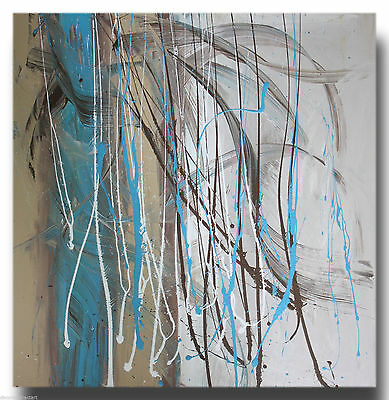 ABSTRACT CANVAS PAINTING turquoise brown. Modern wall art artwork Australia