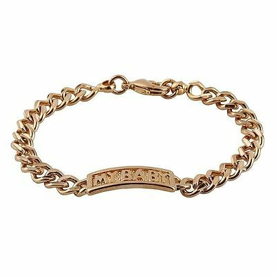 "Baby Girls Beautiful""my Baby"" Gold Gp Id Bracelet."
