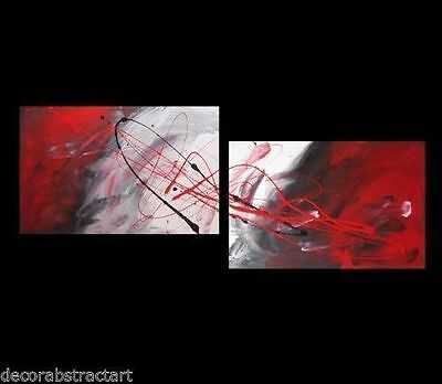 2 ABSTRACT CANVAS PAINTING  red black white.  180cm   Modern wall art Australia