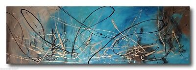 ABSTRACT CANVAS PAINTING turquois god brown. Modern wall art Australia