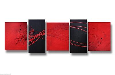 ABSTRACT CANVAS PAINTING red black wall art Australia