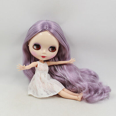 """12"""" Neo Blythe Doll  Joint Body Purple Hair Nude Doll from Factory CA7006"""