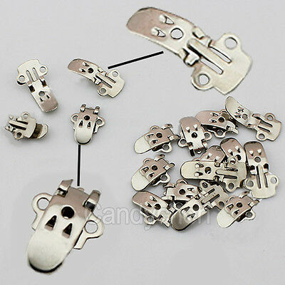50/100Pcs Blank Stainless Steel Shoes Flower Clips On Findings Craft DIY Buckle