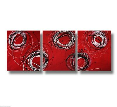 3 ABSTRACT CANVAS PAINTING red black white. Modern wall art artwork Australia