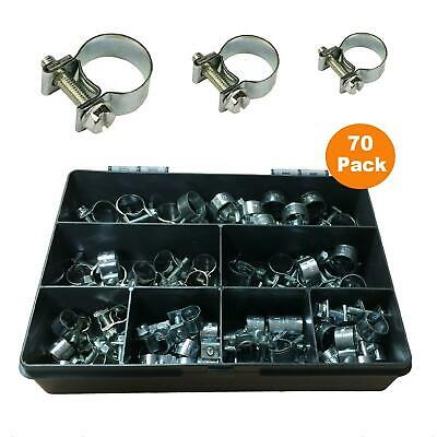 70 x Assorted Mini Fuel Line Jubilee Hose Clips Clamps for Diesel & Petrol Pipes