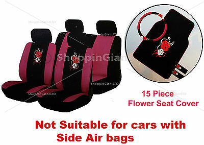 15 PC Girly Pink Flower Petal Car Seat Cover Mat Set Wheel Glove Cover Pads