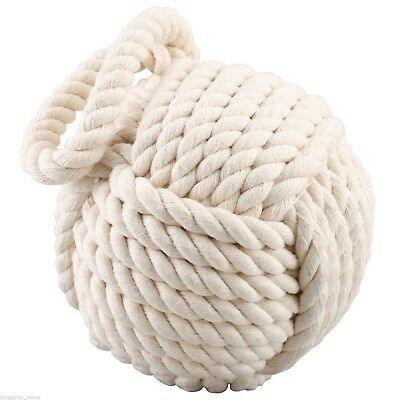 Doorstop White Rope Nautical Heavy Maritime Earthy Natural Eco-friendly Decor