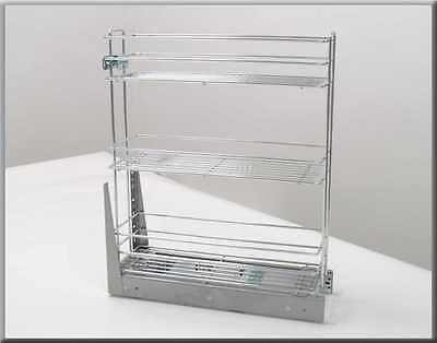Pull Out Soft Close Three Tier Wire Basket Base Storage Unit 150 - 600mm