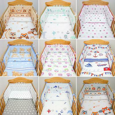 3 Pcs Nursery Baby Bedding Set Duvet Cover Pillowcase Cot Bumper Regular Printed