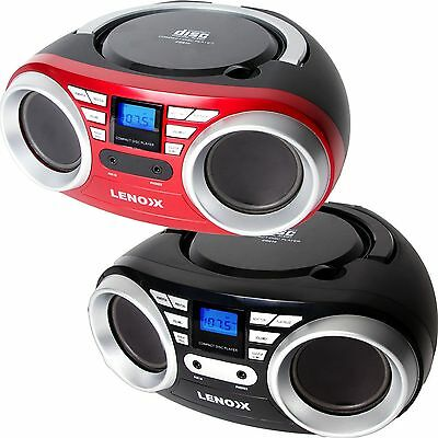 Portable CD Player Boombox MP3 Speaker Stereo Aux In Radio Headphone Black Red