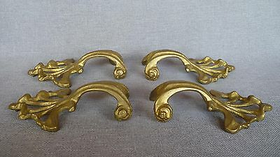 4 antique french drawer handles early 1900's made of ormolu
