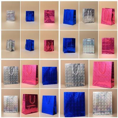 6 Holographic Foil Gift Bags In 3 Colours & 3 Sizes