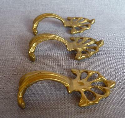 3 antique french drawer handles early 1900's made of ormolu