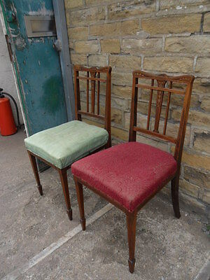 pair of antique inlaid mahogany salon hall lounge chairs soft seats work project