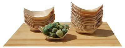 Bamboo Wood Boats Mini x100 for finger foods, canapé 65X42mm GOTO