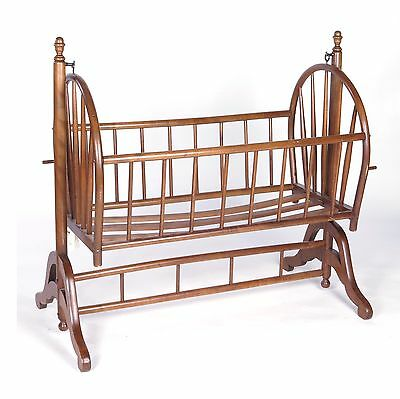 Vintage used wooden rocking baby infant crib cradle basinet bed on stand