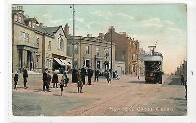 NEW TOWN CROSS, AIRDRIE: Lanarkshire postcard with tram (C18517)