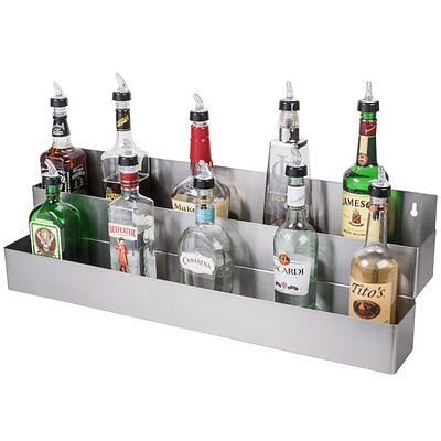 "32"" Silver Stainless Steel Double Tier Commercial Bar Speed Rail Rack"