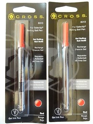 2 X Cross 8013 Selectip Gel Rolling Ball Refill RED Color NEW