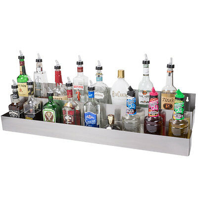 "42"" Silver Stainless Steel Double Tier Commercial Bar Speed Rail Rack"