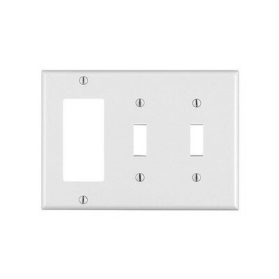 (10 pc lot) Decorator/GFCI 2 Toggle Switch 3-Gang Wall Plate Cover White Lexan