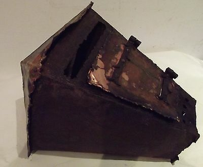 antique french letter box missive Gothic tin & copper hammered XIXth horror movi