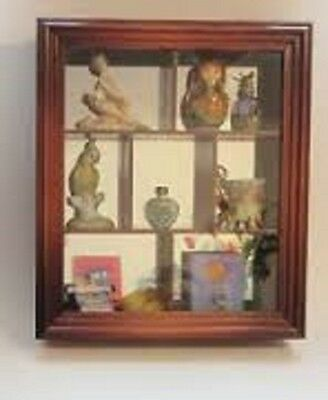Wood Shelved Hanging Mirrored Curio Cabinet Wood Framed Glass Doors Figurine
