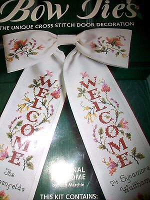 Welcome Bow Tie Cross Stitch Door Decoration Kit - Personalize