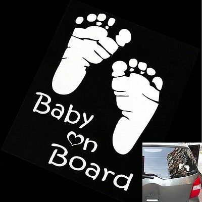 Car Sticker Vinyl Decal, Fuky Decal Baby on Board For Vehicle (Color: White)