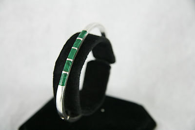 Taxco Silver Hinged Bracelet with Malachite Inlay Mexico 22.2g Signed