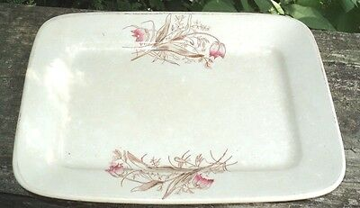 Antique Ironstone Square Platter Knowles, Taylor & Knowles Brown & Pink Transfer