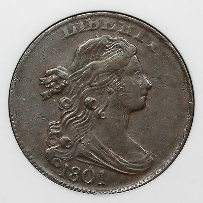 1801 S-216 ANACS EF 45 Draped Bust Large Cent Coin 1c