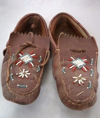 Native American Plains Indian Beaded Brown Leather Moccasins. Nice Design