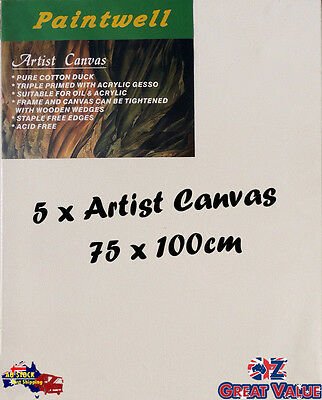 5 x Blank Artist Stretched Canvas 75X100cm Heavy Duty 38mm Thick - SCS-3040B