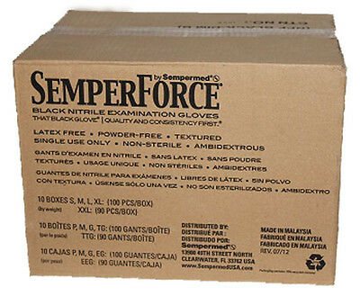 Semperforce Black Nitrile Tattoo Gloves Extra Large XL Disposable Mechanic Cosmo