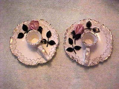 Vintage Pair Lefton's Floral Candle Holders (2)- Beautiful #51