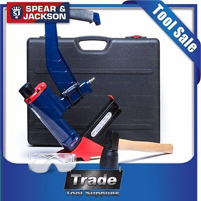 Spear & Jackson Pneumatic Staple Gun Floor Nail Secret Flooring Gas Nailer