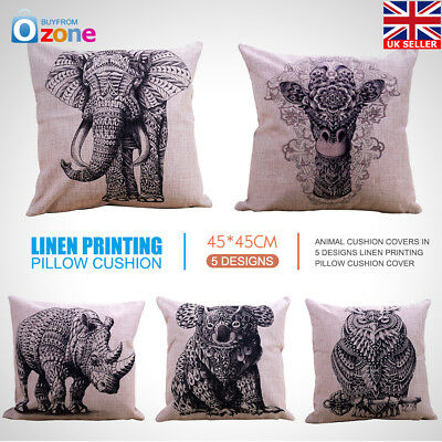 Animal Throw Pillow Case Polyester Linen Cushion Cover Living Room Home Decor