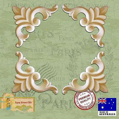 4 x Shabby French Chic Furniture Appliques Resin Wood Vintage Decor Art Moldings