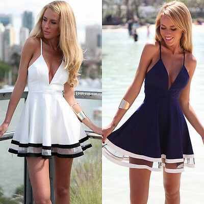 Women Casual Summer Chiffon Sexy Beach Party Cocktail Short Mini Dress