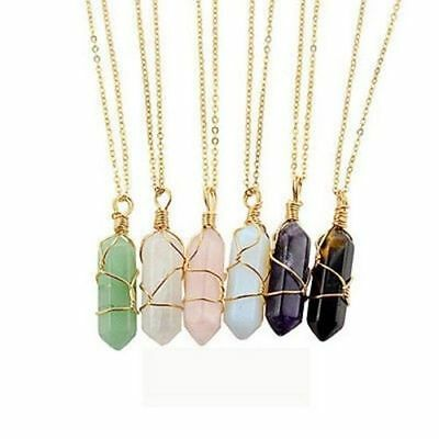 Gemstone Natural Crystal Quartz Healing Point Chakra Stone Pendant Necklace Gift