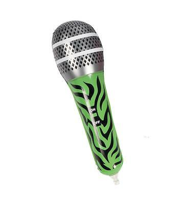 "12"" Inflatable Green Zebra Microphone Mic Musical Instrument Kids Toy Blow Up"