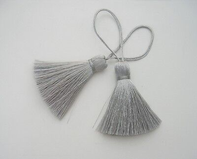 Silver Gray Tassel Silk Fringe Trim Jewelry Making Craft Curtain Sewing Supply