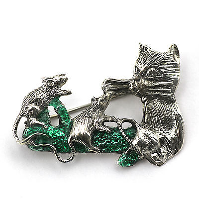 Cat And Mice Brooch With Green Enamel 925 Sterling Silver Hallmarked