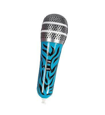 "12"" Inflatable Blue Zebra Microphone Mic Musical Instrument Kids Toy Blow Up"