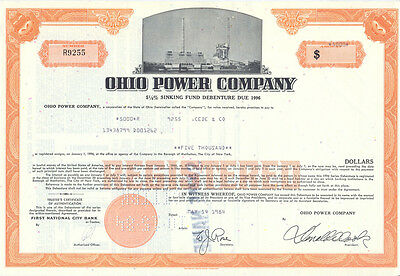 USA Ohio Power Company alte Aktie 1984 dekorativ