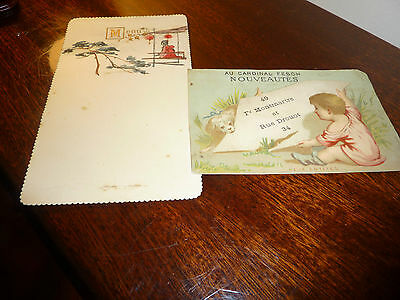 2 FRENCH CARDS, MENU AND ADVERT. 1920's