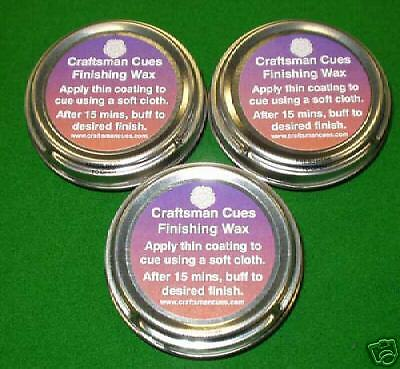 3 x TINS OF CRAFTSMAN SNOOKER - POOL CUE FINISHING WAX