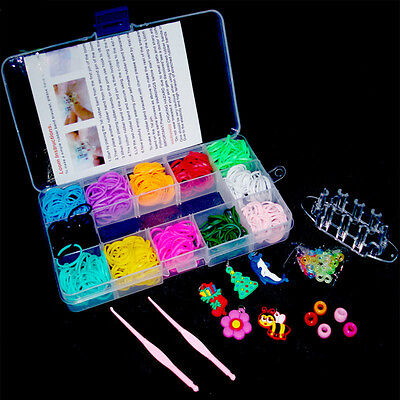 600pcs Colorful Loom Rubber Bands & Needle & Monster Tail Board Bracelet DIY Kit
