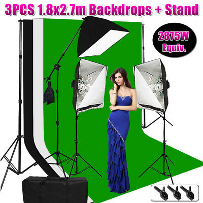 Photography Photo 3 Softbox Boom Arm Studio Continuous Lighting 3 backdrops kit